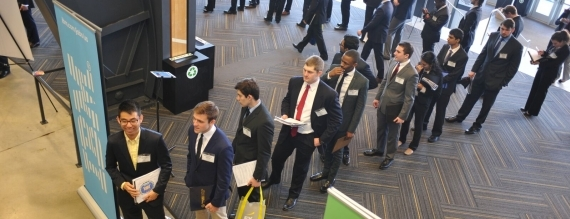 students lined up for career fair image